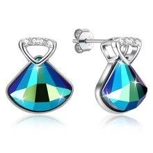 925 Sterling Silver Women Stud Earrings S925 Blue Crystal Lady Fine Jewelry Zircon Heart Party Ears Wears