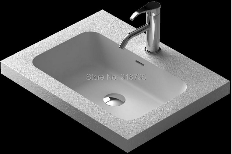 Rectangular bathroom solid surface stone counter top Vessel sink fashionable Corian washbasin RS38350H 781