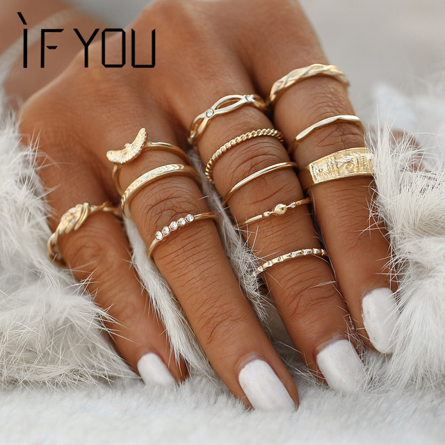 IF YOU 12pcs Set Fashion Gold Color Geometric Ring Set For Women Punk  Infinity Arrow Eagle Crystal Midi Knuckle Finger Rings New 4101bd3ed