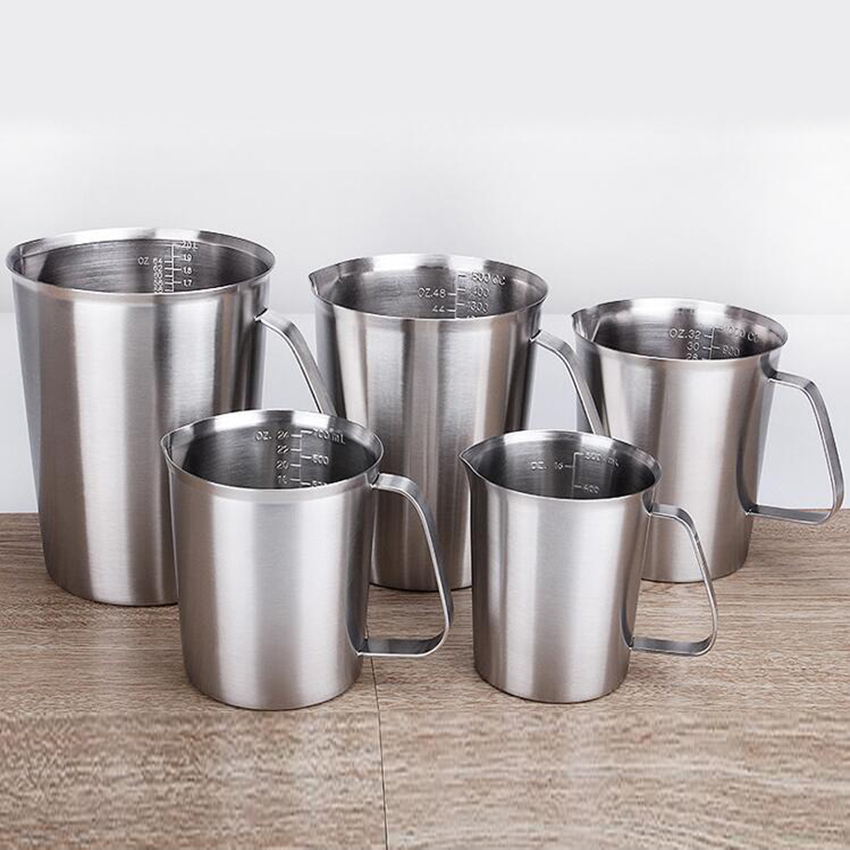 500/700/1000/1500/2000ml Measuring Cup Graduated/Baking/Liquid/Milk Coffee Stainless Steel Cup Pitcher Measure For Cooking Tool