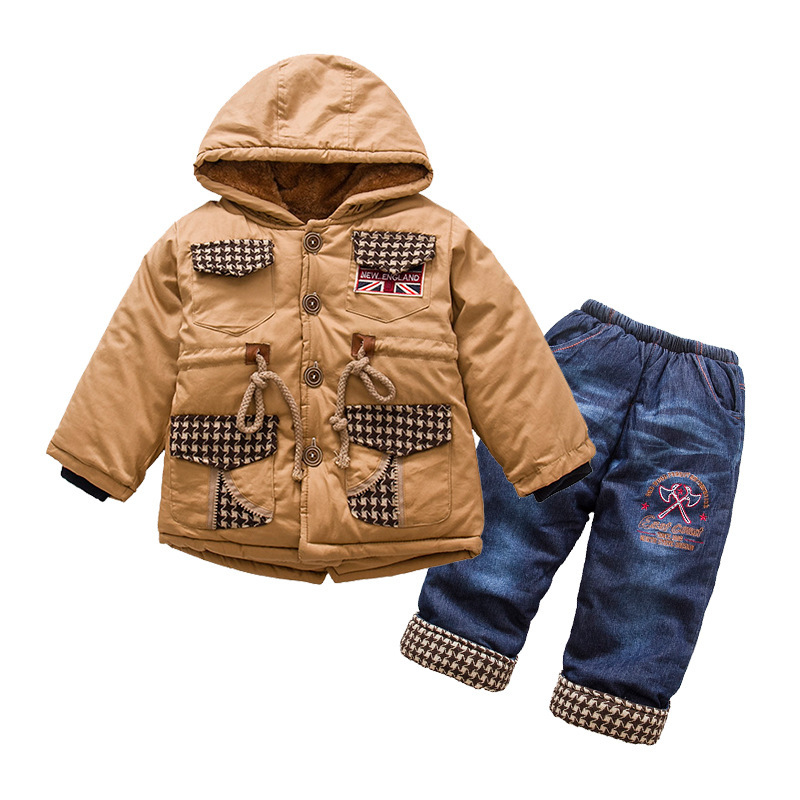 ФОТО Anlencool boys cotton suit British style classic lattice models baby set Padded winter clothes suit High-quality baby clothing