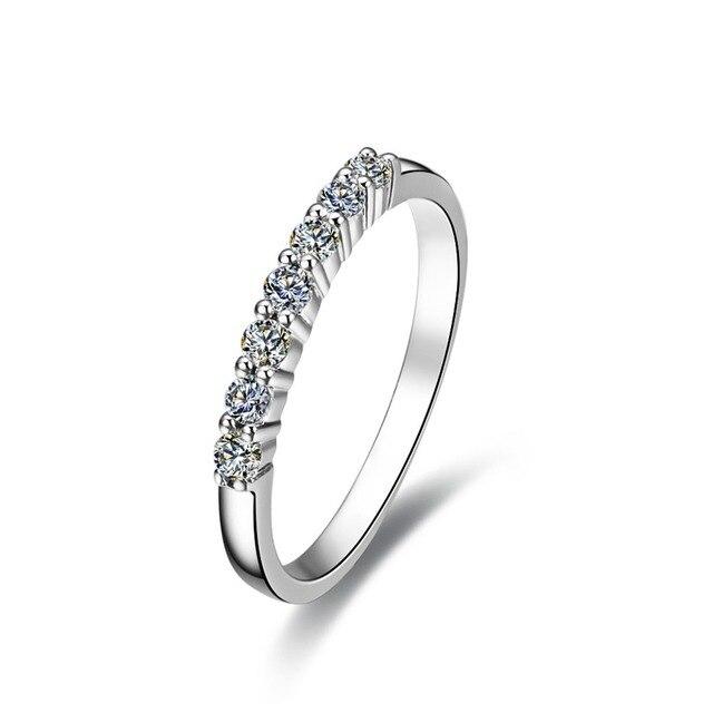0 7 Carat Seven Stones Real Moissanite Engagement Ring Genuine Solid 14k White Gold Wedding Anniversary Ring
