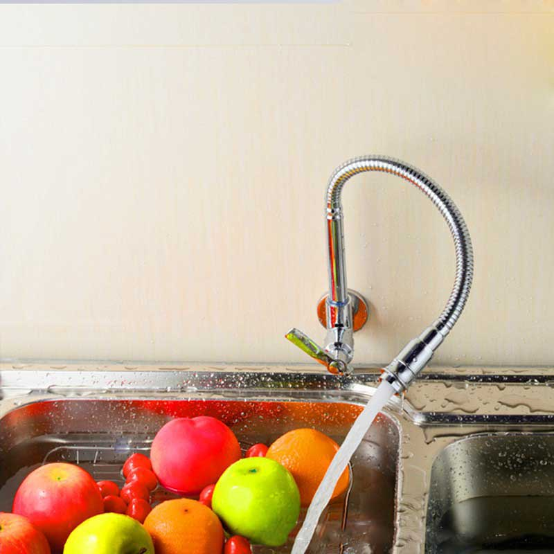 Free Shipping Modern Chrome Single Handle Kitchen Faucet Cold Water Faucet Wall Mounted Brass Kitchen Taps