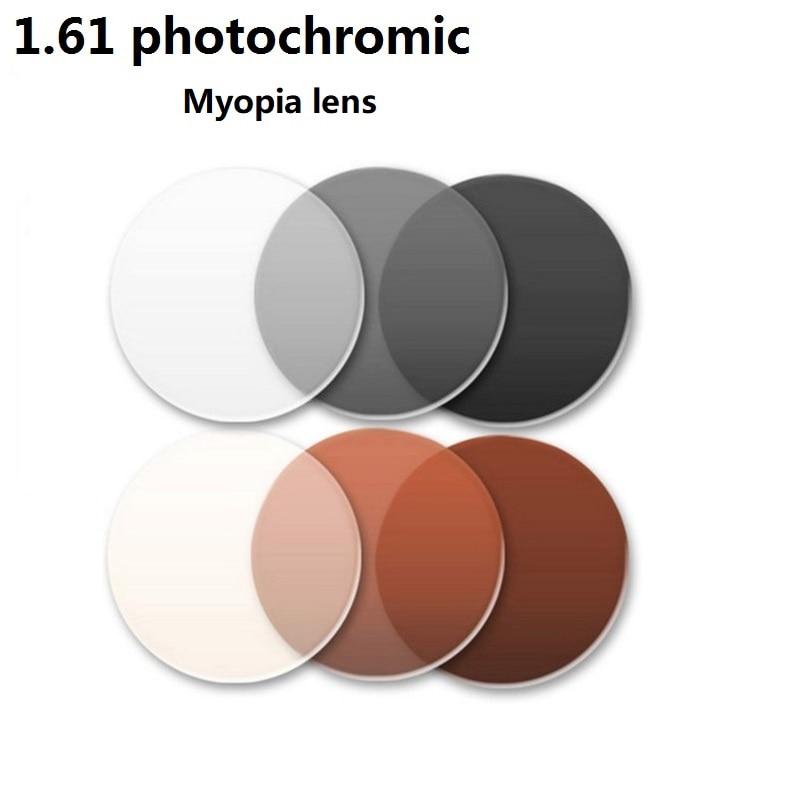 1.61 photochromic brown gray brand myopia eyeglass prescription lenses sunglasses color film coated Anti-planning resin glasses