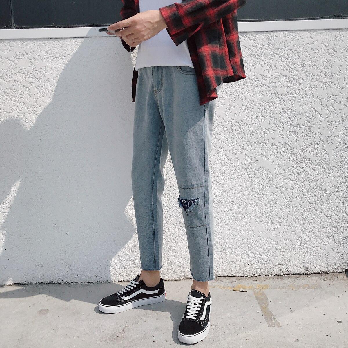 2018 Spring New Mens Fashion Applique Decoration Holes Denim Ninth Pants Stretch Slim Casual Solid Color Jeans Trousers 28-33