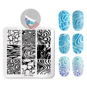 Image 5 - PICT YOU Square stemplowanie płytki wzór woda seria obraz paznokci szablony stempli ze stali nierdzewnej Nail artystyczny design Tools F002