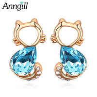 Free Shipping Top Quality Austrian Crystal 18k Gold Lovely Cats Stud Earrings Blue Joyas For Women