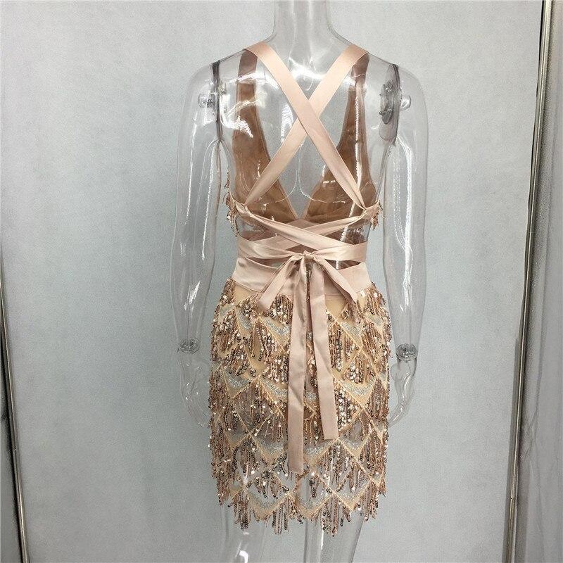 Deep V Sequin Tassel Mini Dress