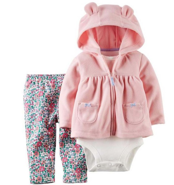 2017 New Original newborn baby clothing set ,Autumn, winter kids bebe clothes hoodies +shirt + pants newborn