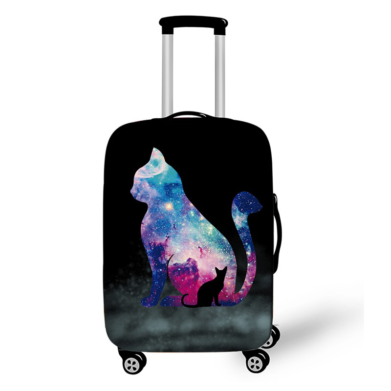 18-32 Inch Galaxy Trolley Suitcase Protective Covers Elastic Travelling Case Cover Cat Sketch Luggage Cover Travel Accessories