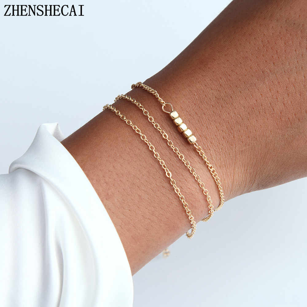 2019 Anniversary Gift Gold Sliver Bracelet Adjustable Chain Bracelet Easy Matching Simple Bijoux Jewelry