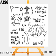 AZSG Cartoon Style Lovely Pig Cattle Clear Stamps For DIY Scrapbooking/Card Making/Album Decorative Silicone Stamp Crafts