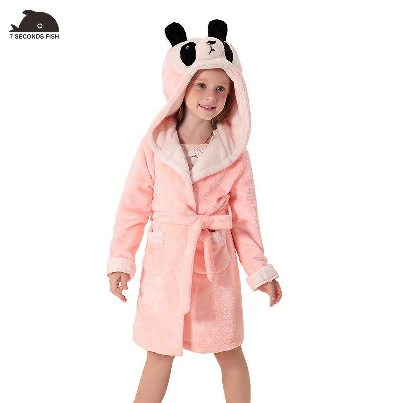 Детские Обувь для девочек зимние пижамы коралловые бархат Халаты с капюшоном единорог пижамы Обувь для девочек одежда халат Детская одежда