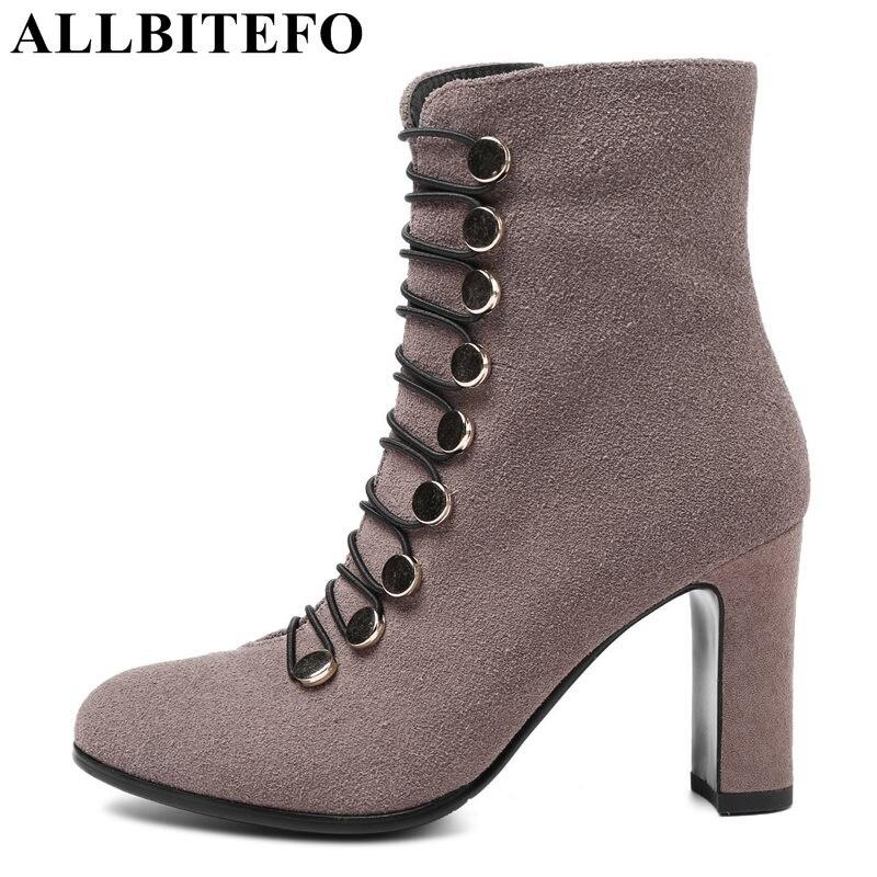 ALLBITEFO fashion sexy Nubuck leather square toe high heels women boots thick heel girls boots martin boots plus size:34-43 цены онлайн