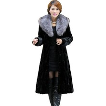 Luxury Genuine Real Piece Mink Fur Coat Jacket Fox Fur Collar Winter Women Fur Outerwear Coats Trench Overcoat 3XL 4XL X-Long
