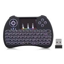 Mini teclado sem fio qwerty 2.4 ghz rato de ar com backlit inteligente multifuncional touchpad jogo teclado para pc android caixa tv htpc