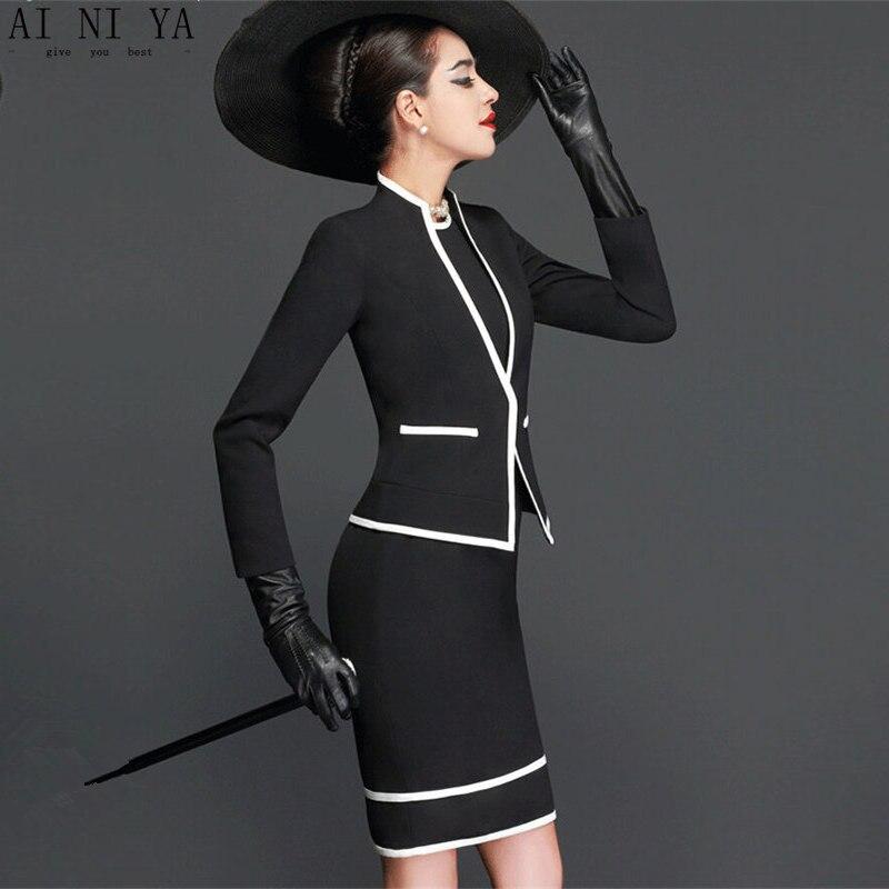 9269acfdfd97 € 117.49 6% de DESCUENTO Falda de mujer trajes elegante Vintage otoño ropa  Formal para trabajar Oficina negocios trajes OL chaqueta blazer y faldas ...