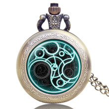 Old Antique Bronze Doctor Who Theme Desgin Pocket Watch With Necklace Chain For Men And Women