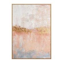 Современная картина маслом розового и золотого цвета ручная