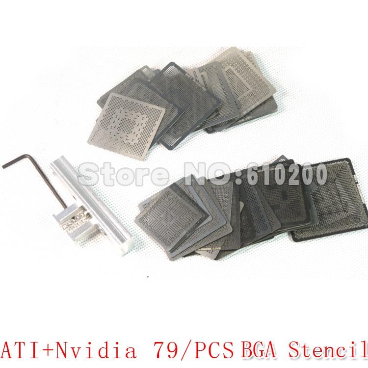 Free Shipping 79pca/set Nvidia/ATI Chip Direct Heating VGA Card BGA Stencil BGA Reball Kit Bga Reballing Stencil Kit + BGA Jia