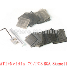 Envío libre 79pca/set Nvidia/ATI Tarjeta VGA Chip calentamiento Directo BGA Stencil BGA Kit Reball Bga Reballing Kit de la Plantilla BGA + Jia