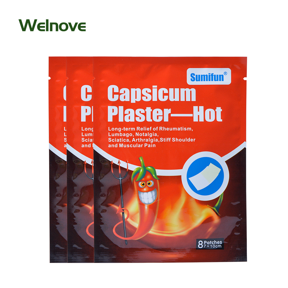 64Pcs/8Bags Sumifun Capsicum Plaster Hot Pain Relieving For Strain Muscle Pain Neck Pain Back Pain Body Massage D0675 free shipping 2017 hot pain relief for knee shoulder waist back muscle joint best laser body massage and pain reliever machine