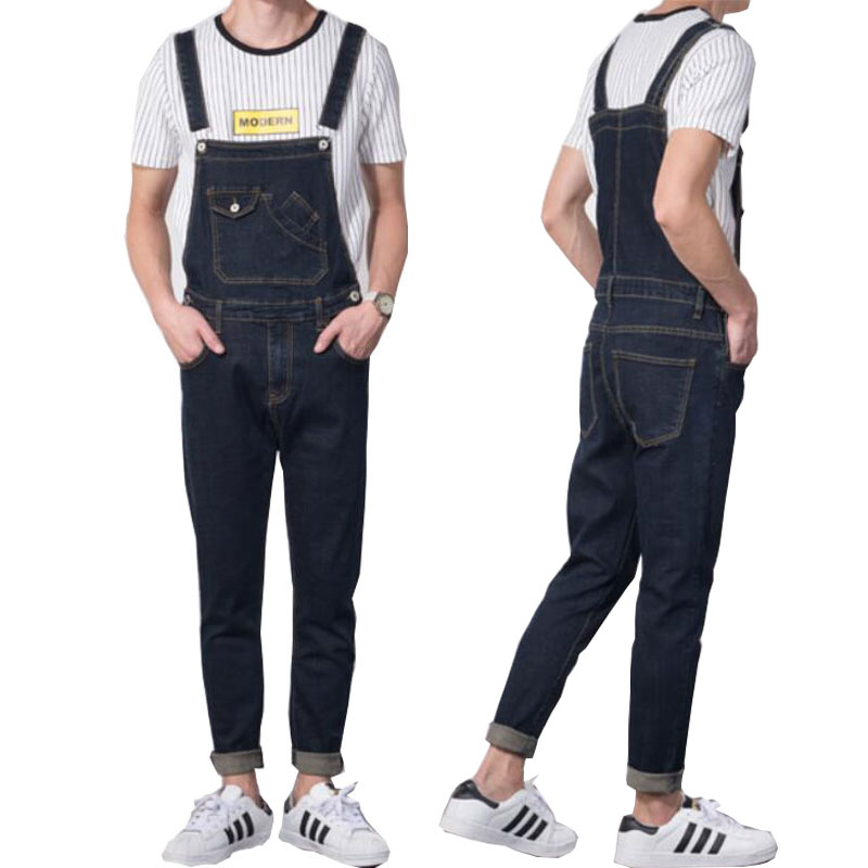 jeans men 2019 Modis Vintage Design Pocket Jeans Denim Overalls Men Casual Wash Skinny Bib Male Blue Jumpsuit
