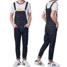 jeans men 2019 Modis Vintage Design Pocket Jeans Denim Overalls Men Casual Wash Skinny Bib Overalls Jeans Male Blue Jumpsuit цена