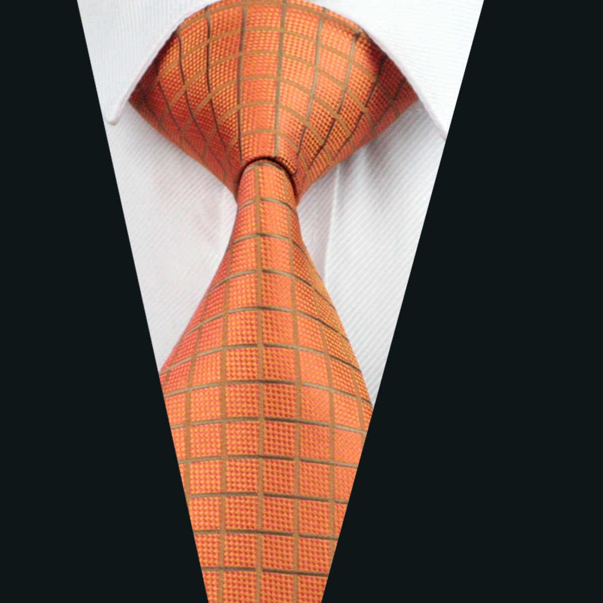 DH-464 Erkek Ipek Kravat Turuncu Ekose Kravat % 100% İpek Jakar Kravat Erkekler İş Düğün Parti için Ücretsiz Nakliye