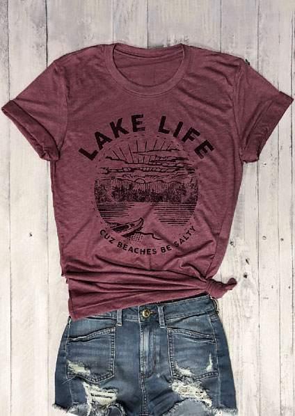 New Women   T  -  Shirt   Short Sleeve Lake Life Cuz Beaches Be Salty Print O-Neck   T  -  Shirt   2018 Female Casual   t     shirt   Ladies Tops Tee