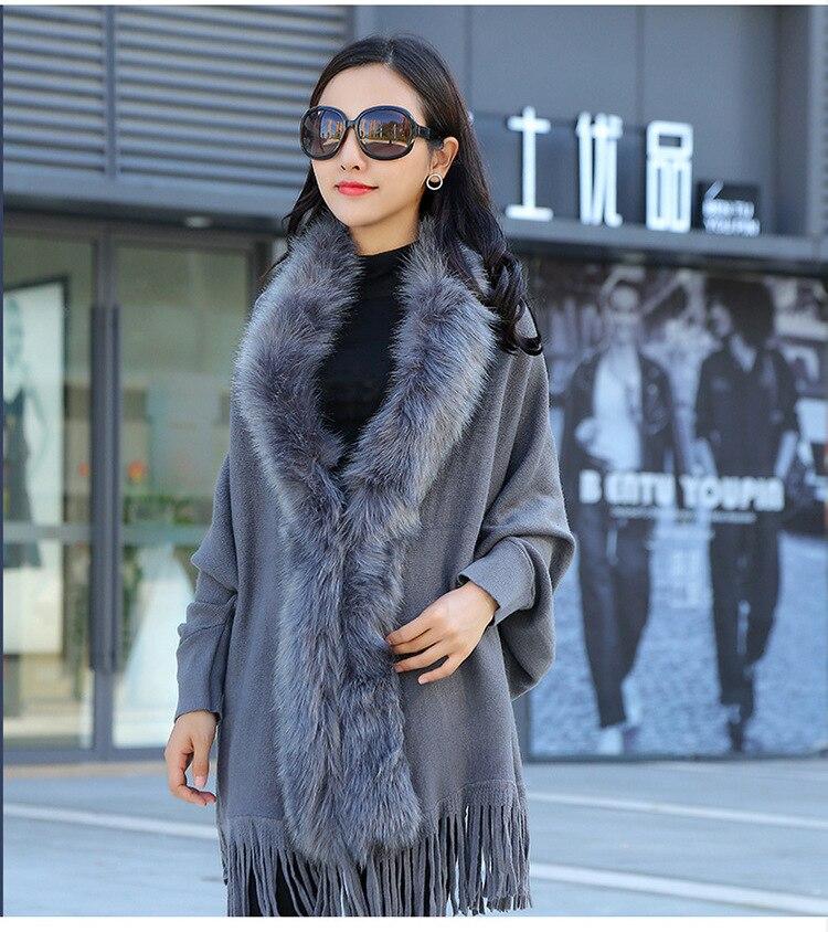 Faux Fur Collar Shawl Cardigan Tassel Winter Warm Coat 36