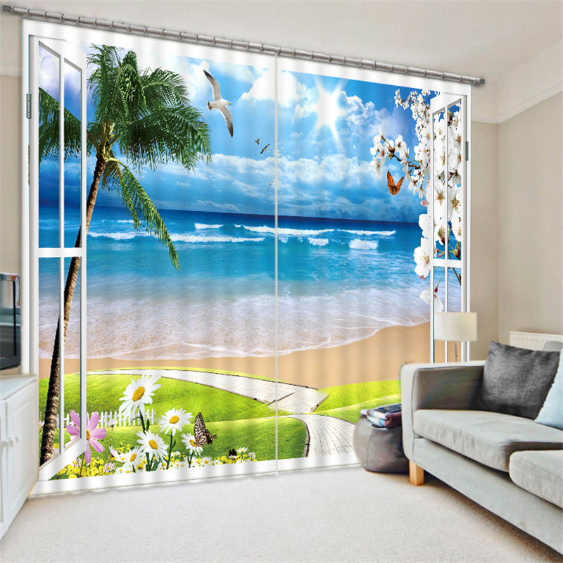 Customized Seascape Luxury 3D Blackout Window Curtain Drapes For Living room Bed room Hotel Wall Tapestry CortinasCustomized Seascape Luxury 3D Blackout Window Curtain Drapes For Living room Bed room Hotel Wall Tapestry Cortinas