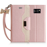 Pouch For Samsung Galaxy S7 5 1 Inch Wallet Phone Bag Cover Good Leather Gold Pink