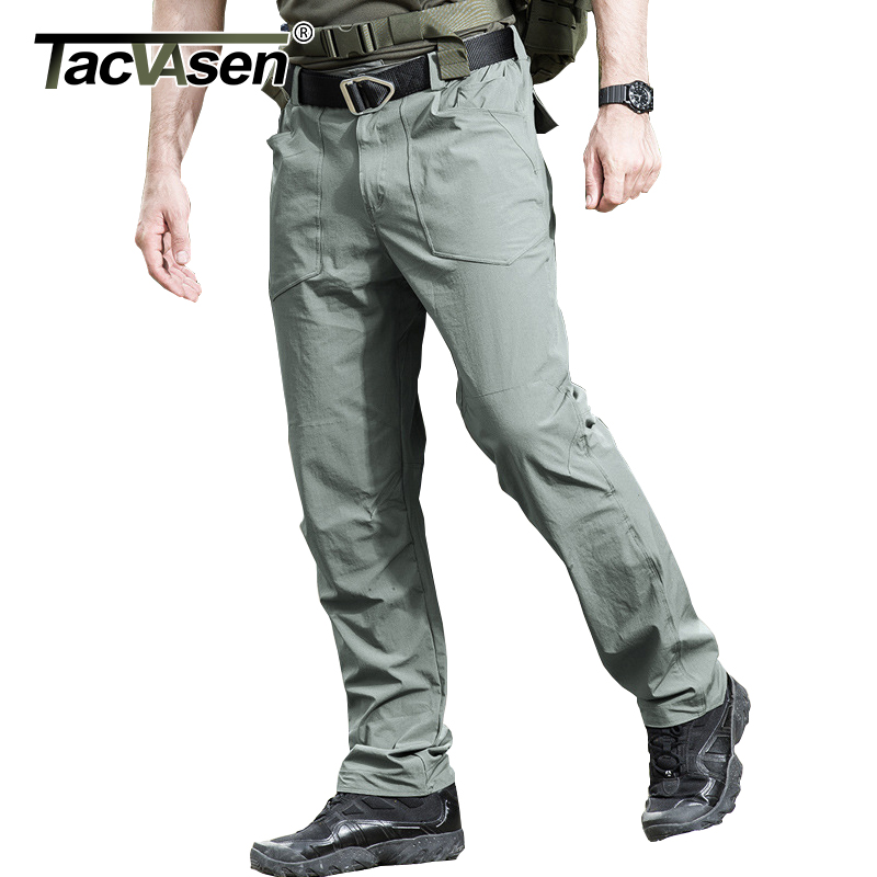 TACVASEN New Men Tactical Pants Waterproof Cargo Pants Summer Quick Dry Elastic Pants Thin Military Combat Trousers TD-QZJL-021