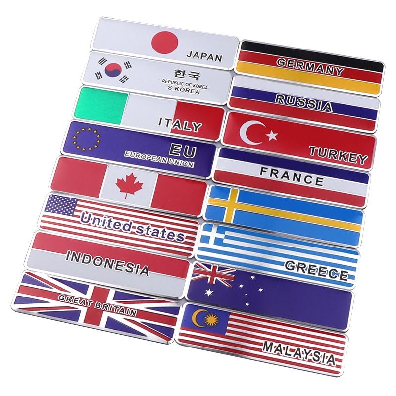 Metal Italy Germany Greece UK USA Australia Canada Turkey Indonesia National Flag Emblem Badge Car Sticker Decal Accessories