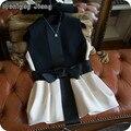 2017 primavera mejor calidad de la cinta arco de la cintura delgada decoración del bloque del color de las mujeres bonito chaleco