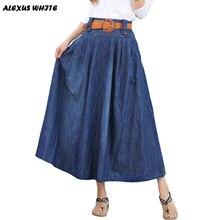 Maxi Jeans Skirts Women's 2016 Summer New Large Swing Denim Pleated Skirt Female