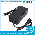 24S 87.6V 1.5A Smart LifePO4 Battery Charger With Cooling Fan