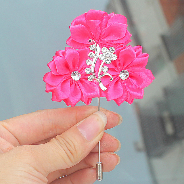 a28cc45446202 US $1.22 49% OFF|Hot Pink 3 Satin Flowers Bridal Wedding Boutonniere  Corsage Silver Crystal Wedding Suit Brooches Pin for Men Customized-in  Artificial ...