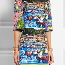 Fashion Print Women A-Line Dress Round Neck Half Sleeve Dresses
