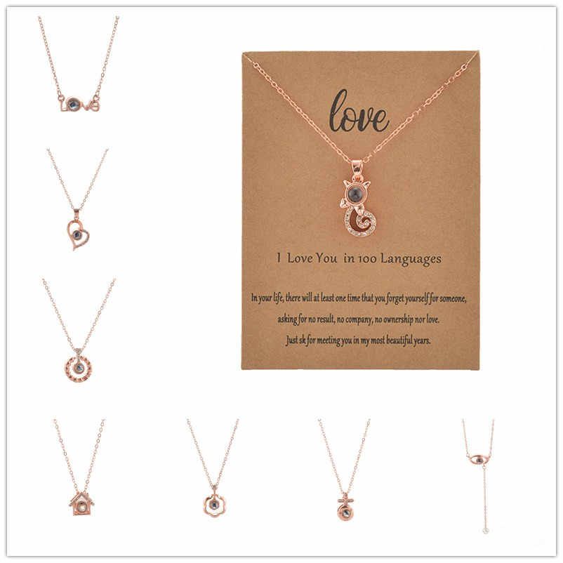 Fashion Mix Colors 100 Language I love You Necklace For Women Wedding Letter Necklace Jewelry
