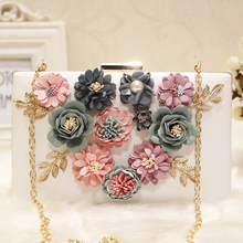 Ladies Floral Evening Bags Women Clutch Bag White Pink Day Clutches Purses Female Wedding Golden Chain Shoulder