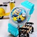 As crianças assistem 3D Eye Despicable Me minions minion Precioso Pai Leite Bonito Dos Desenhos Animados digital relógio do esporte Relógio de Pulso k175