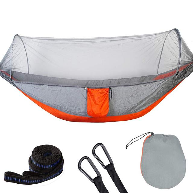 Portable Outdoor Mosquito Net Hammock Parachute Camping Hanging Sleeping Bed High Strength Sleeping Swing 2 Sizes