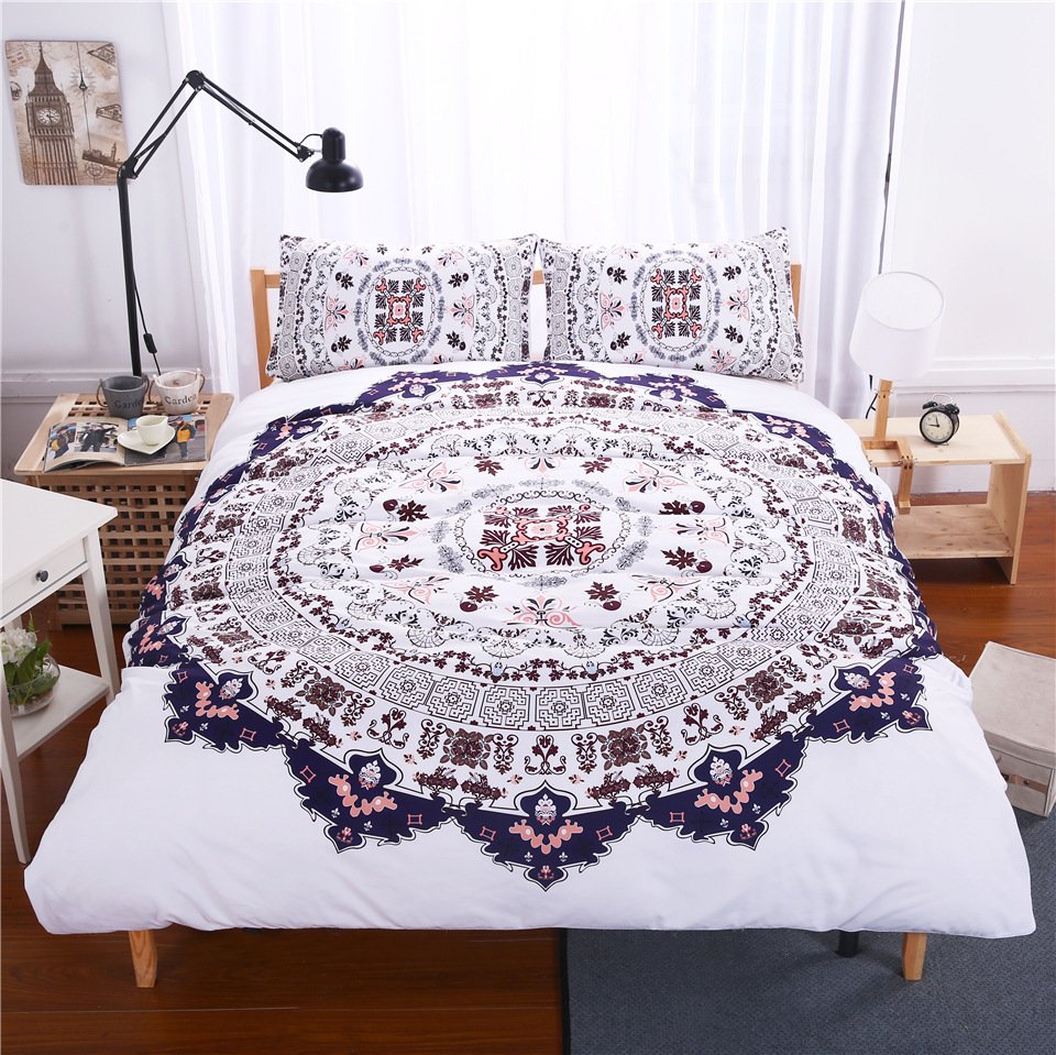 Power Source High Quality Luxury Bohemia Mandala Printing Bed Set Queen 12size Bedlinen Bedclothes Bedding Set Datura Elephant Flower Textile