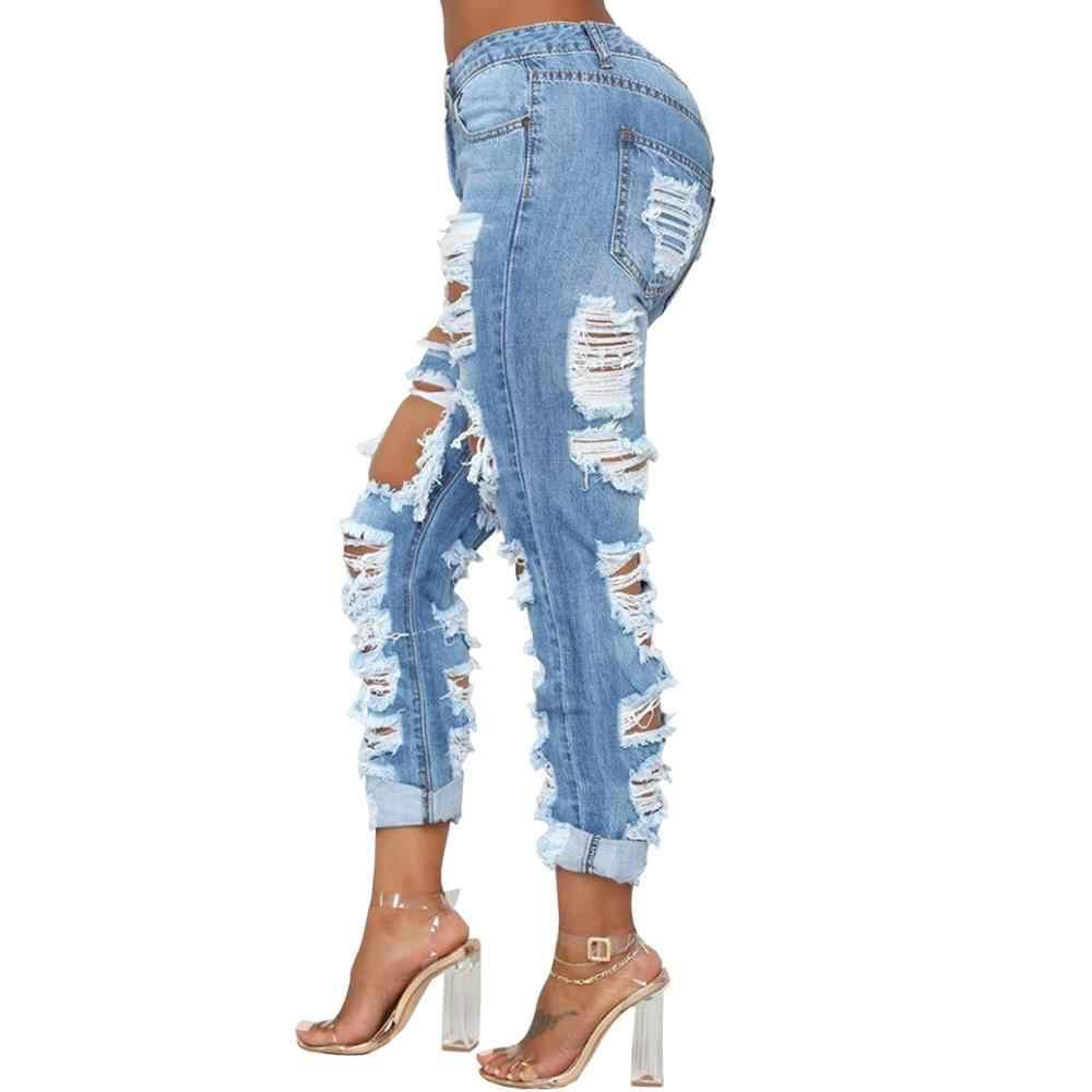 Wjustforu Seksi Yırtık Kot Kadın Bodycon Moda Kulübü Delik Kot Pantolon Kadın Yaz Rahat Hollow Out dar kot Vestidos
