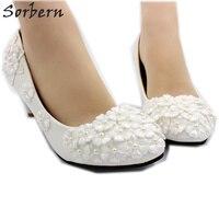 Sorbern Ivory Beaded White Flowers Wedding Shoes Med Heels Pump Kitten Heel  Bridal Shoes Slip On 5bfdaaa96f65