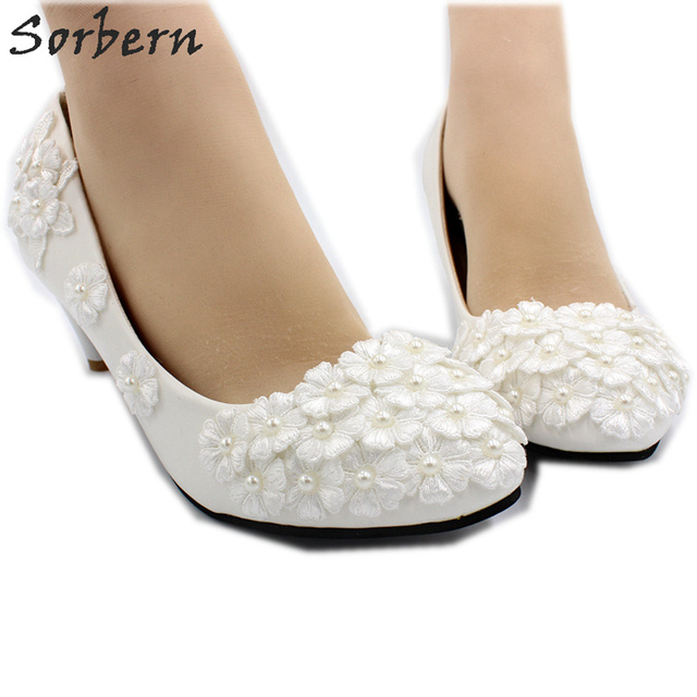Sorbern Ivory Beaded White Flowers Wedding Shoes Med Heels Pump Kitten Heel  Bridal Shoes Slip On Lace Shoes Ivory Wedding Pump 4e43a0ed8127