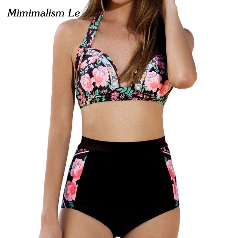 minimalismo le marca vita alta bikini 2017 nuovo push up stampa patchwork swimwear donne costume da bagno sexy costumi da bagno