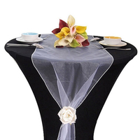 Table Runner Swag Wedding Decoration 50cm Wide Sheer Crystal Organza Fabric Tull Roll For Wedding Chair